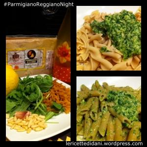 Primi piatti: Fusilli con rucola, extravergine di oliva, Parmigiano Reggiano e pinoli per la Parmigiano Reggiano Night